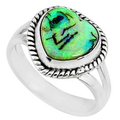 925 silver 3.62cts multi color sterling opal heart solitaire ring size 7 r70239