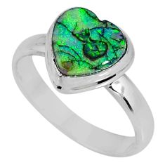 925 silver 3.85cts multi color sterling opal heart solitaire ring size 9 r62149