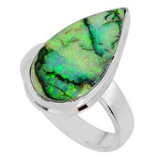 925 silver 4.84cts multi color sterling opal pear solitaire ring size 6.5 r58878