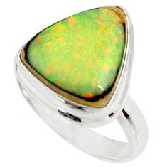 925 silver 11.21cts multi color sterling opal solitaire ring size 8.5 r25152