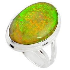 925 silver 10.02cts multi color sterling opal solitaire ring size 6.5 r25155