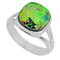 925 silver 3.86cts multi color sterling opal solitaire ring size 6.5 r62192