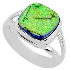 925 silver 3.62cts multi color sterling opal solitaire ring size 6.5 r70218