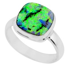 925 silver 3.50cts multi color sterling opal solitaire ring size 6.5 r70226