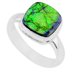 925 silver 3.62cts multi color sterling opal solitaire ring size 7.5 r70229
