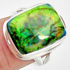 925 silver 11.66cts multi color sterling opal solitaire ring size 7 r25172