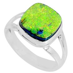 925 silver 3.66cts multi color sterling opal solitaire ring size 7 r70210