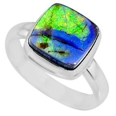 925 silver 3.62cts multi color sterling opal solitaire ring size 8 r70220