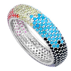 Gemstones infinity band 925 sterling silver eternity ring size 7.5 c23560