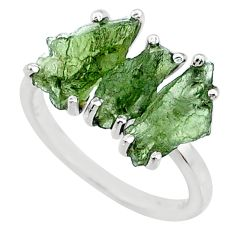 925 silver 8.79cts natural 3 stone moldavite (genuine czech) ring size 7 r71963