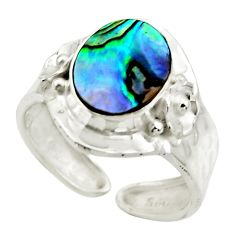 925 silver 3.51cts natural abalone paua seashell adjustable ring size 7 r49669