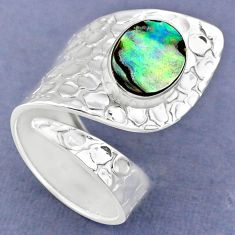 925 silver 3.72cts natural abalone paua seashell adjustable ring size 7 r63439