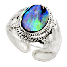 925 silver 4.30cts natural abalone paua seashell adjustable ring size 8 r49744