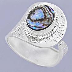 925 silver 3.91cts natural abalone paua seashell adjustable ring size 9 r54910