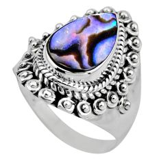 925 silver 3.62cts natural abalone paua seashell solitaire ring size 6.5 r53384