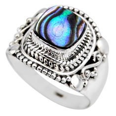 925 silver 3.22cts natural abalone paua seashell solitaire ring size 6.5 r53470