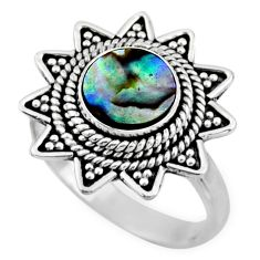 925 silver 2.44cts natural abalone paua seashell solitaire ring size 7.5 r54333