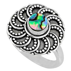 925 silver 0.60cts natural abalone paua seashell solitaire ring size 7.5 r57888