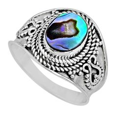 925 silver 2.61cts natural abalone paua seashell solitaire ring size 7.5 r57965