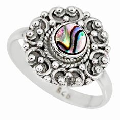925 silver 0.72cts natural abalone paua seashell solitaire ring size 6.5 r58204