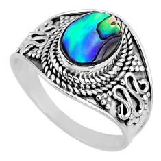 925 silver 2.60cts natural abalone paua seashell solitaire ring size 7.5 r58590