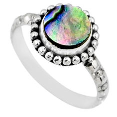 925 silver 2.46cts natural abalone paua seashell solitaire ring size 8.5 r65004
