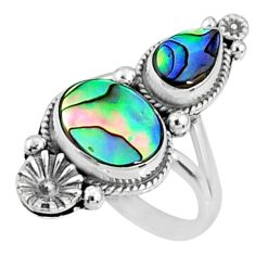 925 silver 5.52cts natural abalone paua seashell solitaire ring size 5.5 r67304