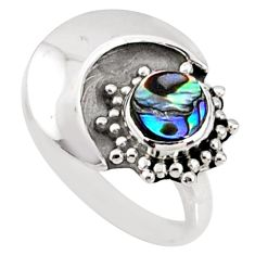 925 silver 0.80cts natural abalone paua seashell solitaire ring size 7.5 r67384