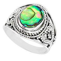 925 silver 2.97cts natural abalone paua seashell solitaire ring size 7.5 r74691