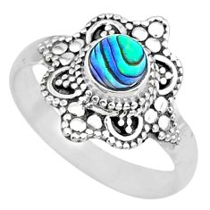 925 silver 0.82cts natural abalone paua seashell solitaire ring size 7 r74727