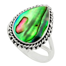 925 silver 5.53cts natural abalone paua seashell solitaire ring size 8 c9812