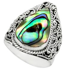 925 silver 5.43cts natural abalone paua seashell solitaire ring size 8 c9816