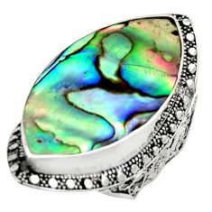 925 silver 15.31cts natural abalone paua seashell solitaire ring size 8 c9820