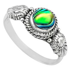 925 silver 0.87cts natural abalone paua seashell solitaire ring size 8 r57364