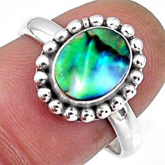 925 silver 3.11cts natural abalone paua seashell solitaire ring size 8 r57919