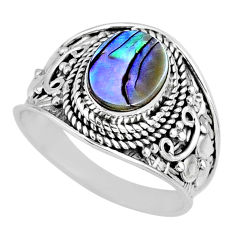925 silver 2.94cts natural abalone paua seashell solitaire ring size 8 r57969