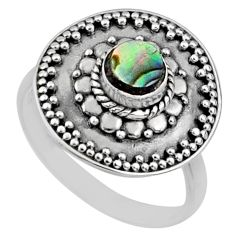 925 silver 0.92cts natural abalone paua seashell solitaire ring size 8 r65155