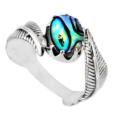 925 silver 3.29cts natural abalone paua seashell solitaire ring size 8 r67448