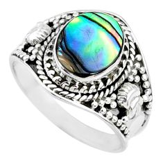 925 silver 2.92cts natural abalone paua seashell solitaire ring size 8 r74695