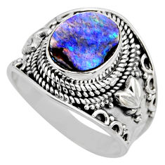 925 silver 3.96cts natural abalone paua seashell solitaire ring size 9 r53673