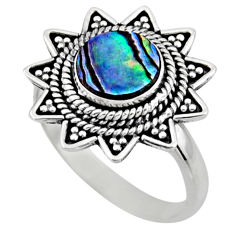 925 silver 2.93cts natural abalone paua seashell solitaire ring size 9 r54327