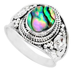 925 silver 3.13cts natural abalone paua seashell solitaire ring size 9 r74698