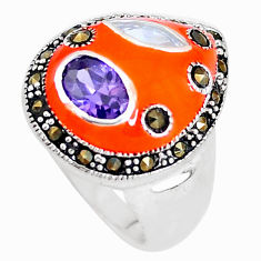 925 silver 2.89cts natural purple amethyst marcasite enamel ring size 5.5 c18505