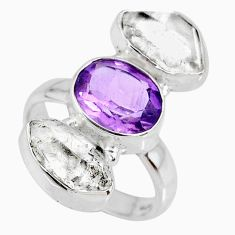 925 silver 12.39cts natural amethyst oval herkimer diamond ring size 6.5 r61678