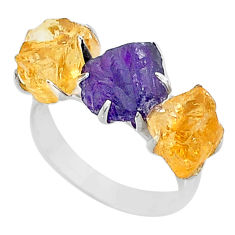925 silver 9.88cts natural amethyst raw citrine 3 stone ring size 7 t7126