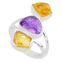 925 silver 12.60cts natural amethyst raw citrine rough ring size 8 t37730