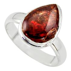925 silver 4.28cts natural ammolite (canadian) pear solitaire ring size 7 r40258