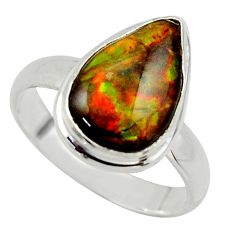 925 silver 4.67cts natural ammolite (canadian) pear solitaire ring size 8 r40260
