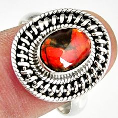 925 silver 3.19cts natural ammolite (canadian) solitaire ring size 8.5 r19233