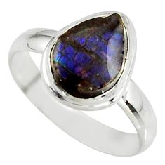 925 silver 4.18cts natural ammolite (canadian) solitaire ring size 8.5 r39412